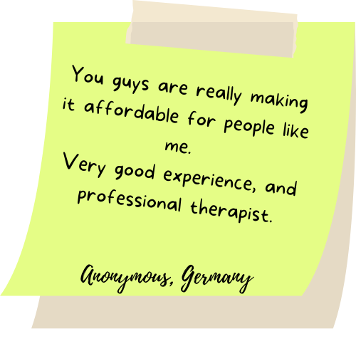 You guys are really making it affordable for people like me. Very good experience, and professional therapist.